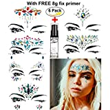 HITOP Face Jewelry Stickers Rhinestone Tattoo, 6 Sheets Temporary Waterproof Self Adhesive Crystal Face & Body Jewel Stickers with Glitter Primer For Festival Party Beach Bikini Make Up (Set1)