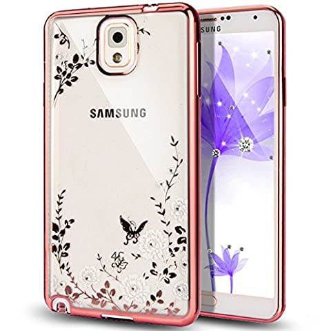 Rejected all traditions Luxury Fashion Bling Flowers Diamond Rose Crystal Clear Case Silicone Cover Case for Samsung Galaxy Note 4(Rose Gold + White (Note 4 Case Of Rats)