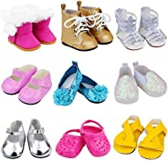 Ecore Fun 9 Pairs of Shoes Fit for American 18 Inch Girl Doll Shoes Including Snow Boots, Leather Shoes, Sanda