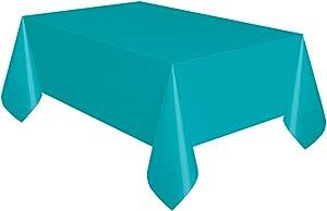 "Unique Industries Teal Plastic Tablecloth, 108"" x 54"", Compact -"