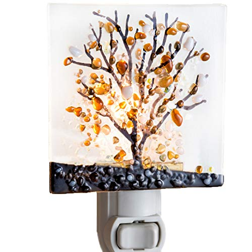 J Devlin NTL 159-1 Fused Glass Tree Night Light Decorative Accent Lite Bedroom Bathroom Kitchen Hallway (Art Glass Night Light)
