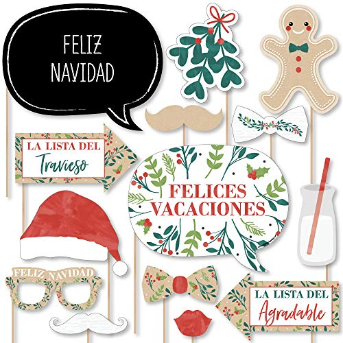Big Dot of Happiness Feliz Navidad - Holiday and Spanish Christmas Party Photo Booth Props Kit - 20 Count -