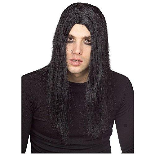 Evil Doer Costume Wig Mens Long Black Heavy Metal Rock Star Vampire Halloween for $<!--$16.89-->