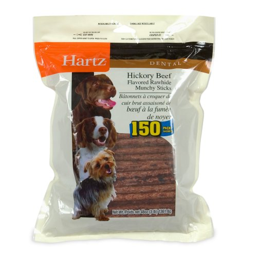 Hartz 96275 Dental Hickory Beef Flavored Rawhide Munchy Sticks 150 Count