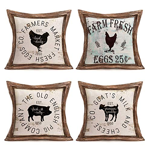 Vintage Animal Pillow Covers Rustic Wood Background Farmer's Market Fresh Rooster Pig Goat Cotton Linen Throw Pillow Case Cushion Cover 18