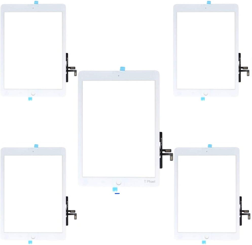 """T Phael White Pack of 5 Touch Screen Digitizer Repair Kit for 2017 iPad 9.7"""" A1822 A1823 iPad 5 5th Gen/iPad Air 1st Front Glass Replacement (Without Home Button,not Include LCD) +Installed Adhesive"""