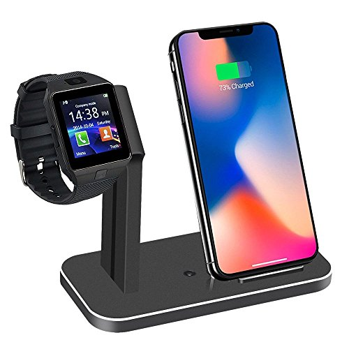 2in1 Phone Wireless Charger ,A-P Watch Charging Stand Compatible with Watch Series 3,2,1,Wireless Charger Compatib with IP Xs/IP X/IP Xs Max/Xr/8/8 Plus (Bright Black)