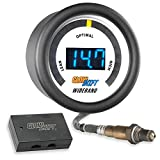 GlowShift White 7 Series Digital Wideband Air/Fuel Ratio AFR Gauge Kit - Includes Oxygen Sensor, Data Logging Output & Weld-In Bung - Blue LED Display - Clear Lens - 2-1/16'' 52mm
