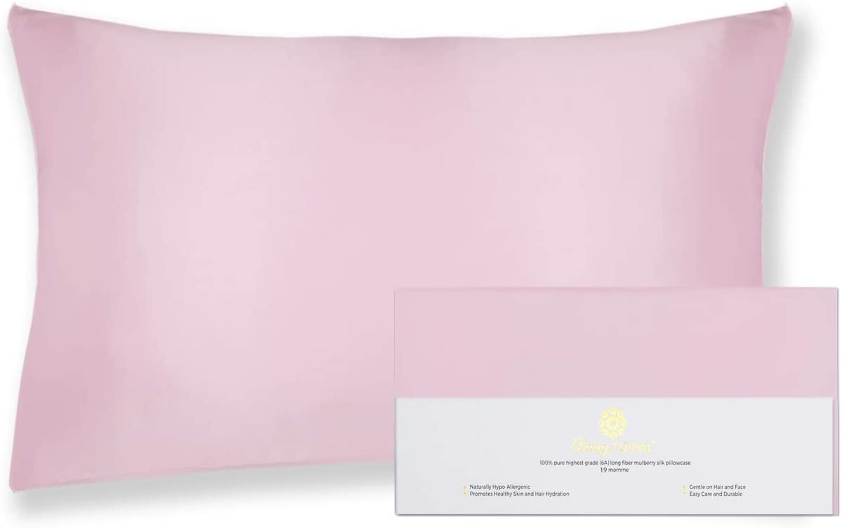 "Beauty of Orient - 100% Pure Mulberry Silk Pillowcase for Hair and Skin, 19 Momme Both Sides, Hidden Zipper, Natural Hypoallergenic Silk Pillow Case, Best Sleep (1pc Standard - 20"" x 26"", Rose Water)"