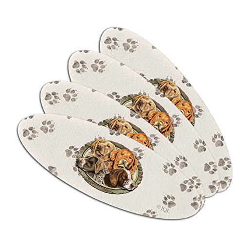 - Hunting Dogs Oval Double-Sided Oval Nail File Emery Board Set 4 Pack