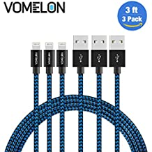Lightning Cable, 3Pack 3FT Nylon Braided Lightning to USB Syncing and Charging Cable Data Cord Compatible with iPhone 7/7 Plus/6S/6 Plus, SE/5S/5, iPad, iPod Nano 7-[Blue+Black]