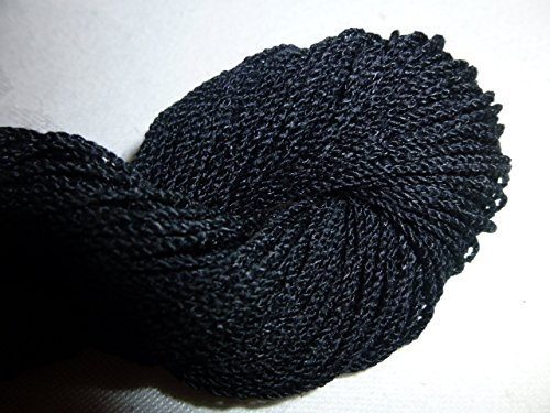 Black Fingering Weight Wool Rayon Blend Sock Yarn (Cotton Boucle)