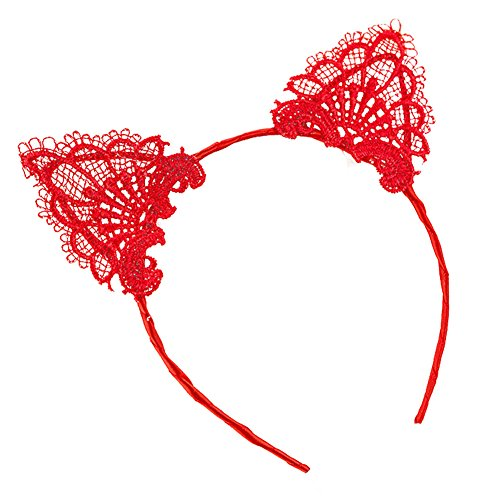 Song Qing Ladies Lace Cat Ears Hair Hoop Halloween Christmas Cosplay Party Masquerade Headband (Red)