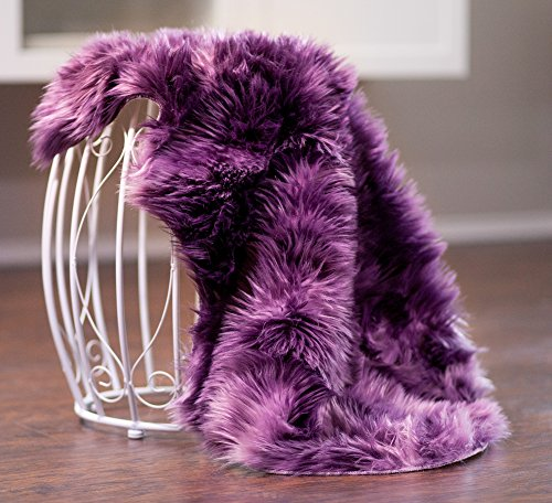Chanasya Super Soft Faux Fur Fake Sheepskin Purple Sofa Couch Stool Casper Vanity Chair Cover Rug / Color Variation Shag Area Rugs For Living Bedroom Floor - Aubergine - Purple Teal