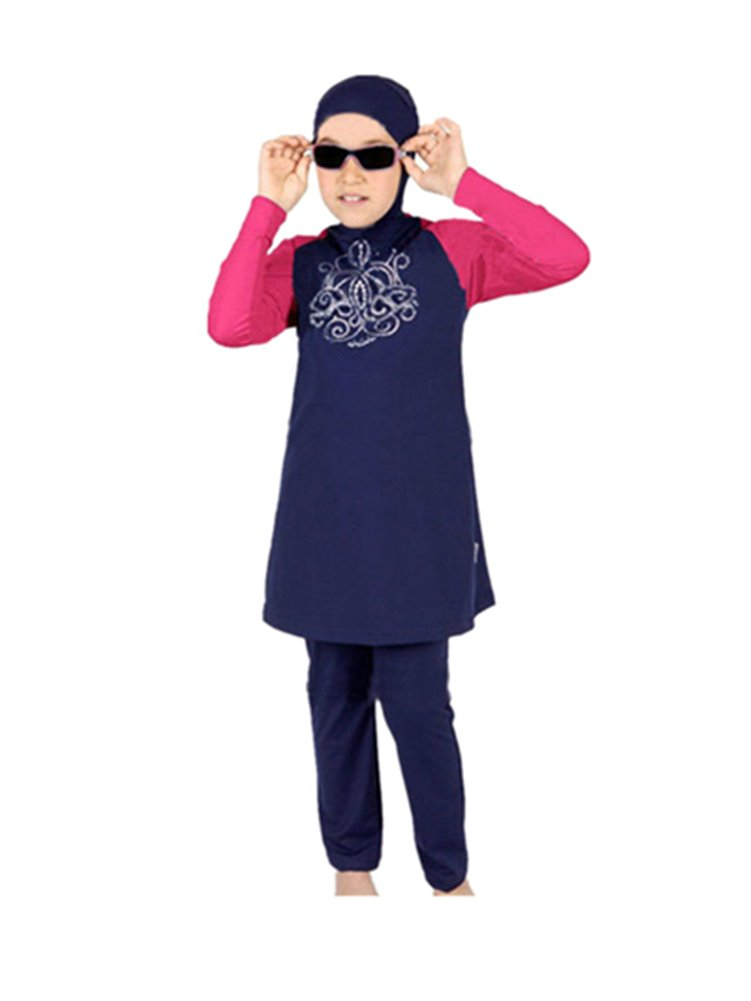 Muslim Swimwear for kid Girls Children Modest Islamic Hijab Swimsuits Burkini KXCFCYS