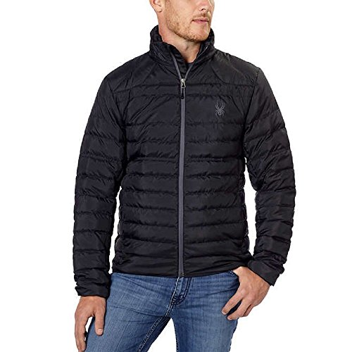 Spyder Men's Prymo Down Jacket (Black/Polar, Medium) (Spyder Men Ski Jacket)
