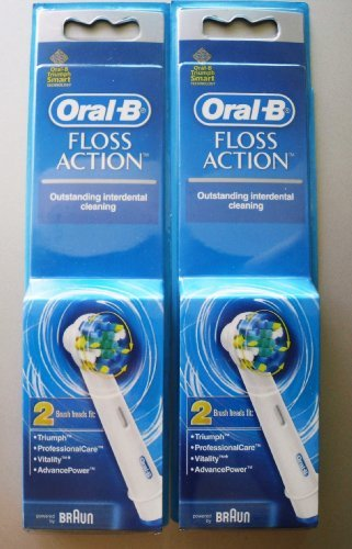 (Oral B Floss Action Replacement Brush Head / 4 Heads (4 Ct) Powered By Braun)