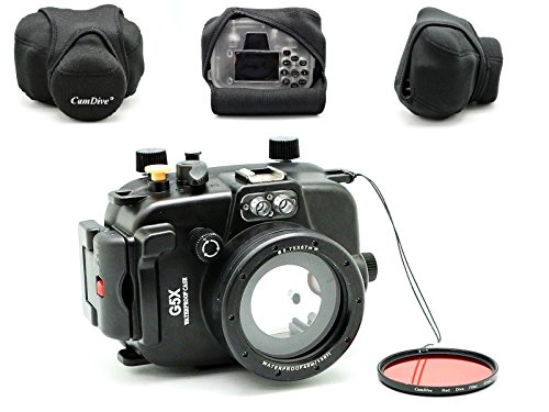 CamDive 40m/130ft Underwater Diving Camera Housing for Canon G5X Comes with CamDive Red Diving Filter by CamDive