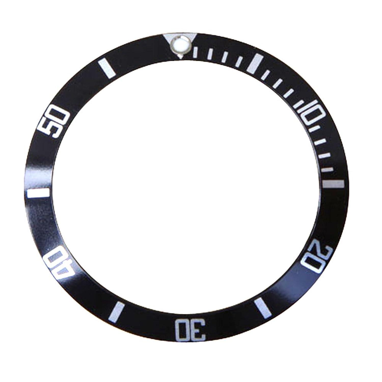 交換用時計ベゼル挿入ブラック&シルバーにフィットSubmariner 16800 B00ZYT9ADA