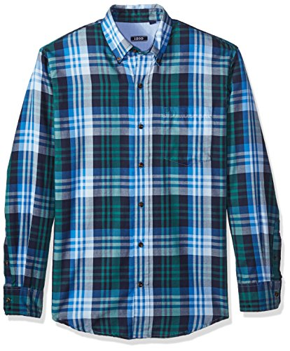 (IZOD Men's Long Sleeve Twill Easycare Plaid Shirt, Peacoat, Large)