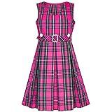 Sunny Fashion Girls Dress Pink Tartan Button Back School Pleated Hem Size 10
