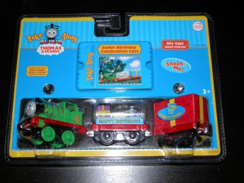 (Take Along Thomas & Friends Die-cast Engine - Sodor Birthday Celebration Trains with Percy & Red Present Car)
