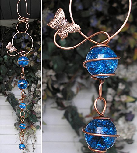 Butterfly Suncatcher Cascade - Metal Sculpture - Glass Copper Art - Yard Lawn Outdoor Pond Decor Aqua