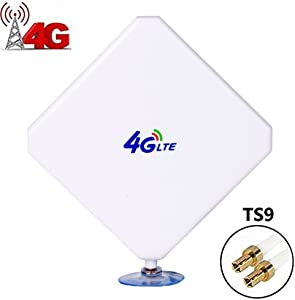 4G LTE Antenna TS9 Male Connector 35dbi High Gain Network Antenne Cell Phone Booster Amplifier Omni Directional Antenna Adapter with Suction Cup for WiFi Router Mobile Broadband Hotspot Signal Booster