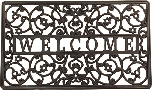 Envelor Home and Garden Wrought Iron Scroll Rubber Welcome Entrance Door Mat (Black Wrought Iron Scroll)