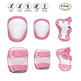 COOLGO Child Kids Protective Gear Set, Knee Pads Elbow Pads Wrist Guards 6 pcs for Multi Sports Skateboard Inline Roller Skates Cycling Biking BMX Bicycle (Pink)
