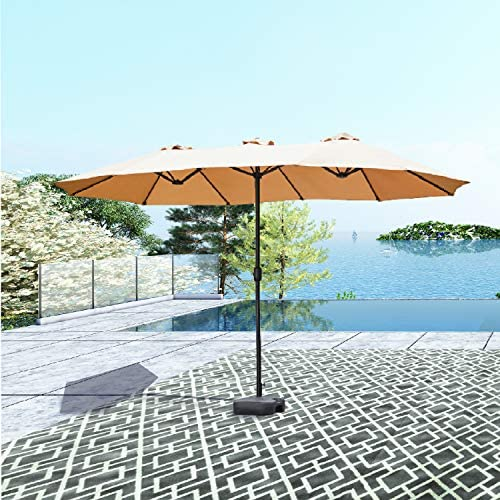 PatioFestival Double-Sided Outdoor Umbrella,15×9 ft Aluminum Garden Large Umbrella with Crank for Market,Camping,Swimming Pool Middle, Khaki