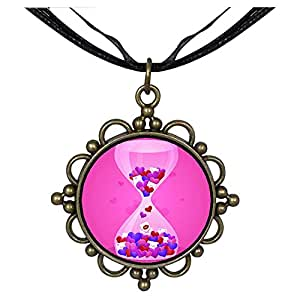 Chicforest Bronze Retro Style Pink peach sand leakage Round Flower Pendant