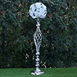 Efavormart Set of 2 Silver Metal Wedding Flower Decor Candle Holder Vase Dining Room Coffee Table Decorative Centerpiece 25.5'
