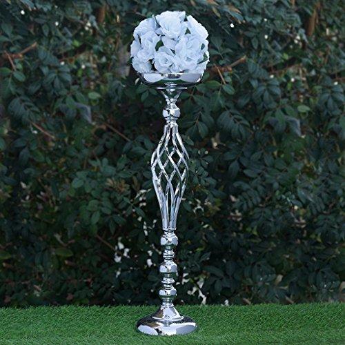 "Efavormart Set of 2 Silver Metal Wedding Flower Decor Candle Holder Vase Dining Room Coffee Table Decorative Centerpiece 25.5"""