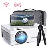 VicTsing WiFi Projector Bluetooth & Screen Mirroring, 3600 Lux Wireless Projector Bluetooth with Tripod, 1080P Supported, HiFi Sound. Mini Projector Compatible with TV Stick, PS4.(w/Customsized Bag)
