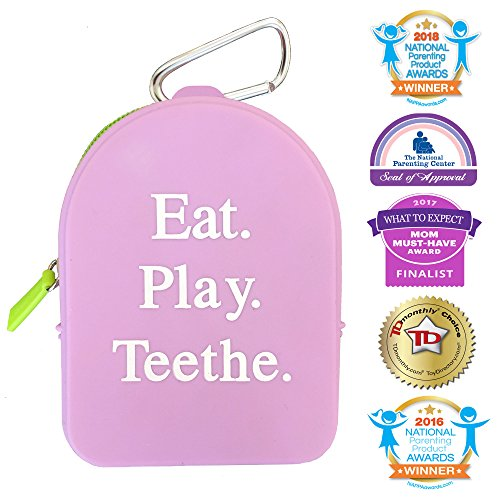 Bag Keychain Case (Silli Chews Best Pacifer and Clip Holder Case and Teething Toy Storage Tote Bag with Mom Keychain Hook | Grab and Go Binkie Pocket Keeps Baby Products, Wipes, Toys, and Snack Clean and Dry Purple)