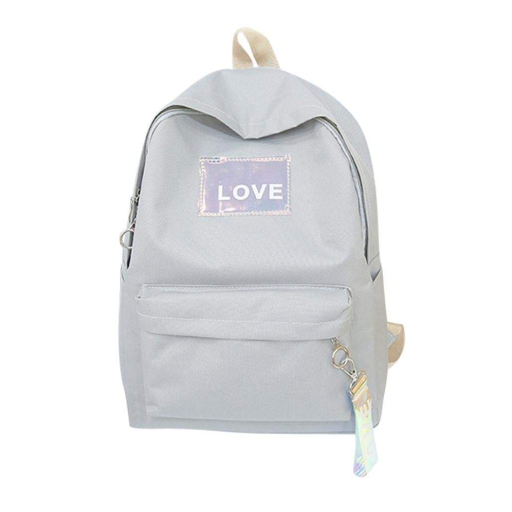 Aobiny Backpack LOVE Canvas Letter Student Bag Backpack (Gay)