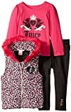 Juicy Couture Little Girls' Printed Vest with Tee and Jeggings, Multi, 3T