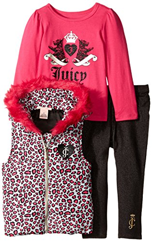 Heart Juicy Girls Couture - Juicy Couture Little Girls' Printed Vest with Tee and Jeggings, Multi, 3T