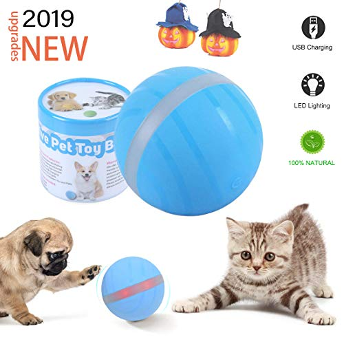 【New Version】 Second Generation Cat and Dog Toy Wicked Ball, Pet Smart Interactive Waterproof Silicone Toy, USB Rechargeable with RGB LED Lights 360 Degree Auto Rolling Ball-The Fun Gift for Pets