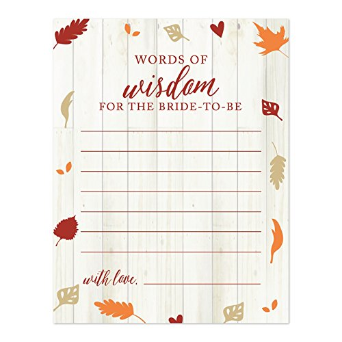 Andaz Press Fallin' in Love Autumn Fall Leaves Wedding Party Collection, Blank Words of Wisdom for the Bride-to-Be Bridal Shower Cards, 20-Pack