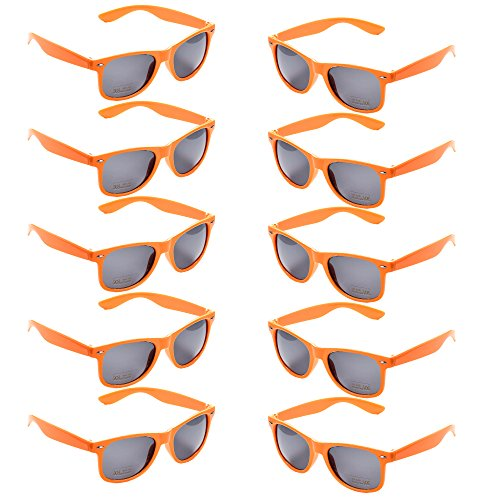 Orange Sunglasses Bulk - 10 Packs Neon Colors Party Favors