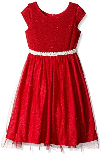Jayne Copeland Big Girls' Glitter Knit Dress with Jeweled Waist, Red, 7