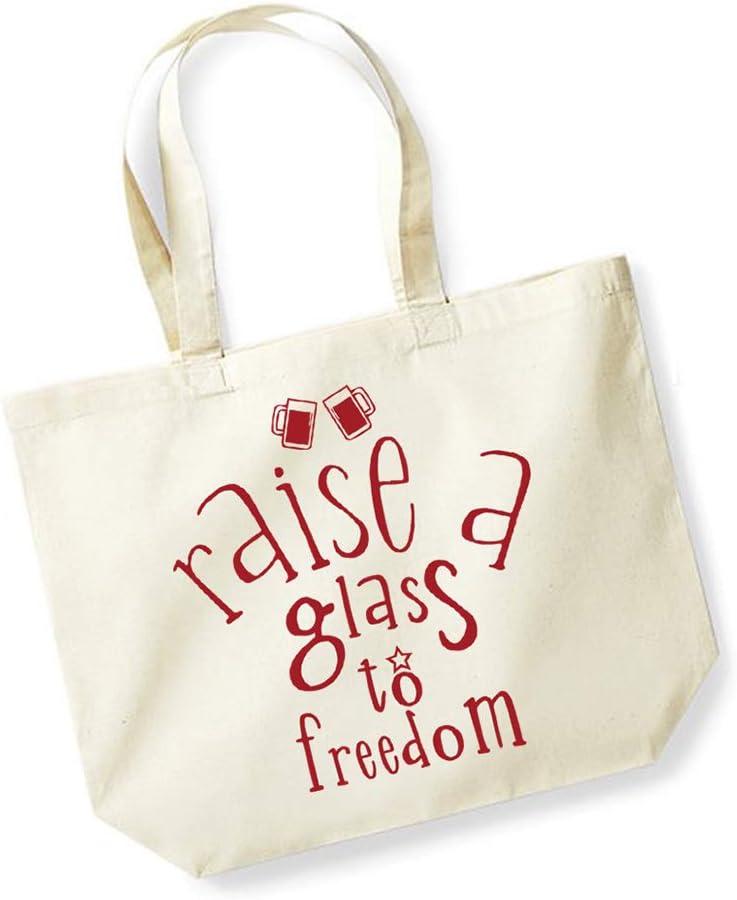 Bolsa de lona de algodón unisex con eslogan – Elevar un vaso a la libertad, Natural/rojo., talla única: Amazon.es: Hogar