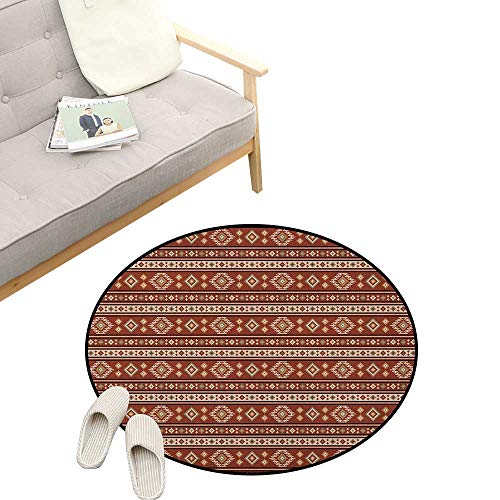 Afghan Baby Room Decor Round Carpets ,Timeless Rhombuses with Stripes Pattern in Earthy Colors Classical Motifs Design, Print Custom Floor mats 47