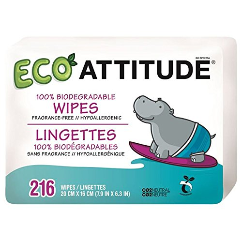 Attitude Eco Attitude 100% Biodegradable Wipes Fragrance Free - 216 Wipes