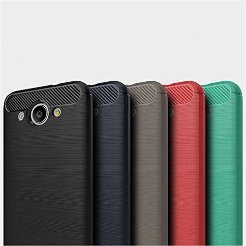 Funda Huawei Y3 2017,Funda Fibra de carbono Alta Calidad Anti-Rasguño y Resistente Huellas Dactilares Totalmente Protectora Caso de Cuero Cover Case Adecuado para el Huawei Y3 2017 C