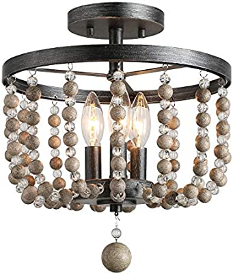 Laluz 3 Light Beaded Semi Flush Mount Ceiling Light Natural Wood Beads Painted Finish 12 D X 13 6 H