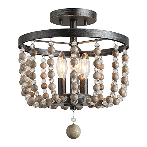 LALUZ 3-Light Beaded Semi Flush Mount Ceiling Light, Natural Wood Beads, Painted Finish, 12 D