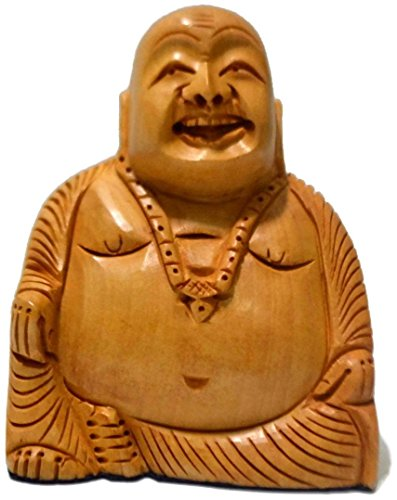 CraftVatika SALE- Hand Carved Wood Sitting Happy Buddha Statue – Gifts Decor Inspirational Religious Buddha Figurine Buddha Decor – 6 Inches Tall Height